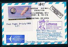 78169) LH FF Hannover - Manchester GB/UK 24.9.91, Karte Korea SPA Dresden R!