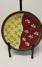 "Dansk Hand Painted 9"" Lunch Salad Plate Red Yellow & Green"