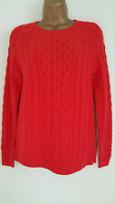 NEW GAP Ladies Chunky Cable Knit Cotton Jumper Red Cream Green Charcoal 6-24