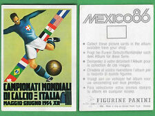 FIGURINA CALCIATORI PANINI MEXICO 86 - NUOVA/NEW N.5 MANIFESTO ITALIA 1934