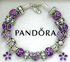 Authentic Pandora Sterling Silver Bracelet with Heart Purple European Charms New