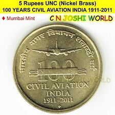100 YEARS CIVIL AVIATION INDIA 1911-2011 Nickel Brass UNC 5 Rupees Five Rs 5