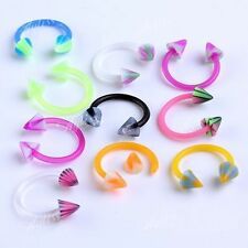 Mixed 10pc UV Taper Spike 16G Horseshoe Nose Ring Stud Body Piercing Jewelry