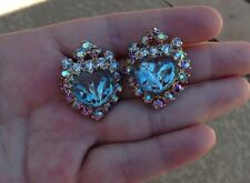 WOW - Vintage Saphiret Hobe Heart Earrings. Big And Sparkly