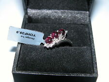 LOT 82 RHODOLITE GARNET + WHITE TOPAZ SOLID STERLING SILVER RING SIZE R
