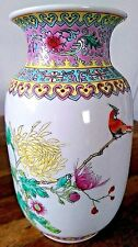 Vintage Mano Esmaltado Chino Firmado Pájaro Decoración Florero De Porcelana