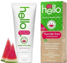 Hello Kids Fluoride Free Toothpaste, Natural Watermelon 4.20 oz (Pack of 5)