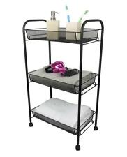 Black Bathroom Storage Trolley 3 Tier Toilet Linen Towel Cart Metal Stand Wheel