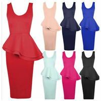 LADIES SIDE SLANT PEPLUM FRILL TOP MIDI DRESS WOMENS BODYCON PENCIL SKIRT 8-20