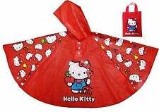 Hello Kitty Girls Rain Coat Waterproof Rain w/ Hood Kid Child Fits in School Bag