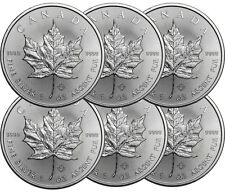 Lot de 6 pieces en argent Maple Leaf 2016 1 once 1 oz silver