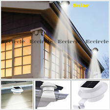 1X LED White Solar Power Powered Outdoor Garden Light Gutter Fence Wall Bracket