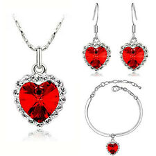 Romantic Crystal Red Hearts Love Jewellery Set Earrings Necklace & Bracelet S299