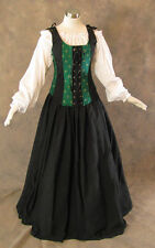Green Renaissance Bodice Skirt Chemise Medieval Pirate Gown Dress LARP S