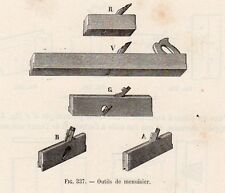 INDUSTRIE OUTILS DE MENUISIER IMAGE 1875 INDUSTRY CARPENTER TOOLS OLD PRINT
