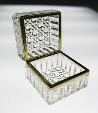 Antique/Vintage BRASS & GLASS JEWELRY BOX Trinket Casket FRENCH Pressed American