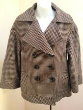 Zara Woman Sz M Peacoat Brown Black Wool Blend Houndstooth Tweed Coat