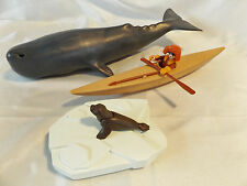 Playmobil Eskimo in Kayak w/ Humpback Whale, Iceberg, Spear, Seal Arctic Animals