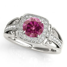 0.62 Ct HPHT Pink Purple Diamond Halo Ring 14k White Gold Valentineday Spl.Sale