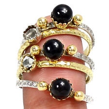 Two Tone - Black Onyx 925 Sterling Silver Ring Jewelry s.8.5 RR3543