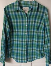 Izod Women's S Green & Turquoise Plaid Button-Down Shirt Roll-up Tabs