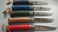 OPINEL IDF lot of 5 comemorative no8 knives 5 different with leather sheaths!!