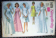 1960's Womens wedding evening gown bridemaids dress pattern 7479 size 12