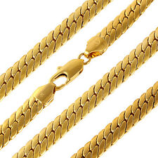 18k yellow gold filled GF solid snake bone chain necklace man 60cm 89G N-A313