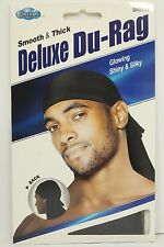 Black Smooth & Thick / Shiny & Silky Deluxe Du Rag Durag KT17 B1