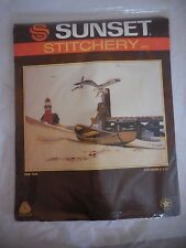 "Vintage Sunset Crewel Stitchery Embroidery ""Ebb Tide"" No. 2427 NIP"