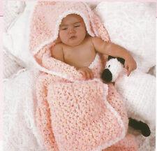 Crochet Pattern ~ ROCK A BYE BABY HOODED BLANKET WRAP Afghan ~ Instructions