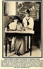 Königin Elisabeth v. Belgien beim Unterricht... Bilddokument von 1915