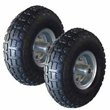 "2 X 10"" PNEUMATIC TROLLEY WHEELS CART TRUCK SACK TYRES 10 INCH BARROW WHEEL"