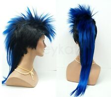 Mens Black Blue Mohawk Wig Long Straight Punk Rock Synthetic Costume