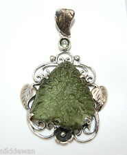 Moldavite with Leaves Design Sterling Silver Pendant Rare Tektite Meteorite