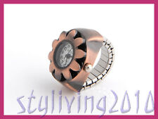 Retro Sun Flower Copper Bronze Unisex Finger Ring Mini Dress Quartz Finger Watch