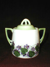 C Tielsch German Porcelain Purple Violets Sugar Bowl - Art Nouveau