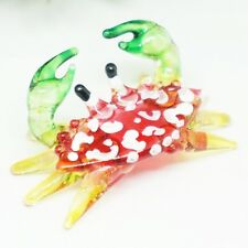 """""""RED CRAB"""" HAND BLOWN GLASS ANIMAL FIGURINE miniature gift sea collection decor"""