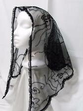 MANTILLA VEIL BLACK SEQUIN EMBROIDER HEAD COVER MASS LATIN CHURCH CATHOLIC  #491