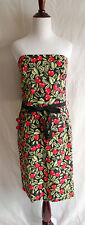 Shani Black Red Cherry Print Rockabilly Retro Pin-Up Strapless Dress Size 10