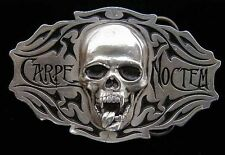 CARPE NOCTEM VAMPIRE SKULL BELT BUCKLE VERY COOL!