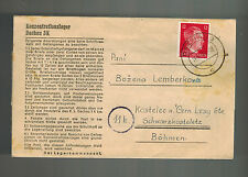 1944 Germany Dachau Concentration Camp Lettersheet Cover Johann Lemberk KZ