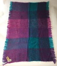 Avoca Mohair Wool Throw Blanket Turquoise Pink Purple Made in Ireland NWT Flaw?