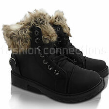 NEW WOMENS FUR LINED LACE UP LOW HEEL WALKING WORK WINTER ANKLE BOOTS SHOE SIZE