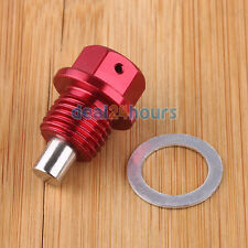 Red M14 x 1.5 Magnetic Oil Pan Drain Bolt Plug For Honda Mazda Mitsubishi Suzuki