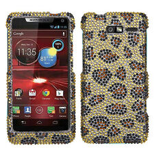 Motorola Droid RAZR i M XT907 CRYSTAL BLING HARD CASE COVER GOLD LEOPARD CHEETAH