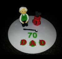 Edible handmade golfing golfer bag cake topper/decoration, personalised.