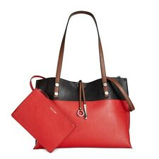 NWT New Calvin Klein Red Black X-Large Reversible Tote Shoulder Bag With Pouch
