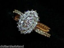 10K .50Ct Pave Diamond Oval Cluster Cocktail Ring Size 6.75 Yellow Gold Vintage