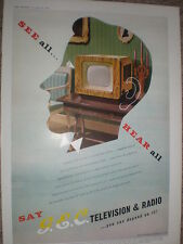 GEC Television and Radio art colour advert 1952 refO50s